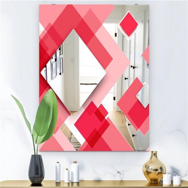 Designart Triangular Red1 Rectangular 35.4-in L x23.6-in W Polished Modern Wall Mounted Mirror