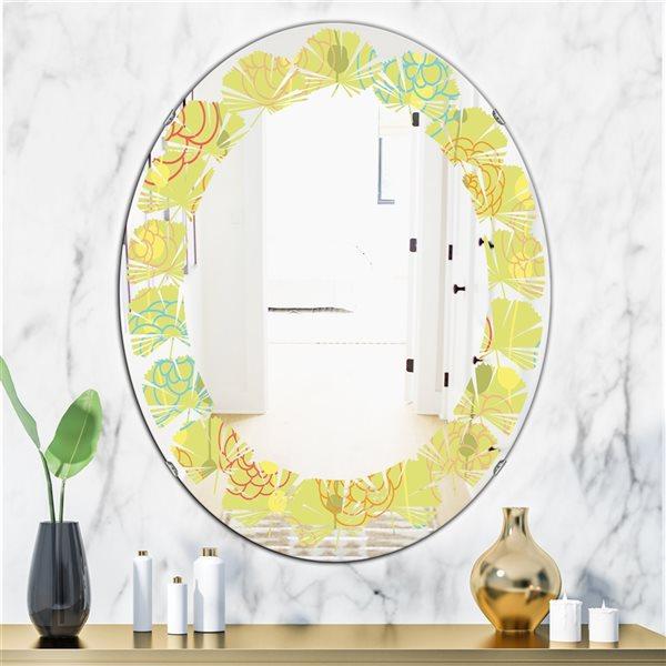 Designart Retro Handdrawn Flowers31.5-in L x23.7-in W Polished Modern Yellow Wall Mounted Oval Mirror