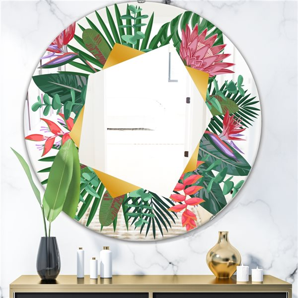 Designart Efflorescent Gold Abundance1 Round 24-in L x24-in W Polished Country Green Wall Mounted Mirror