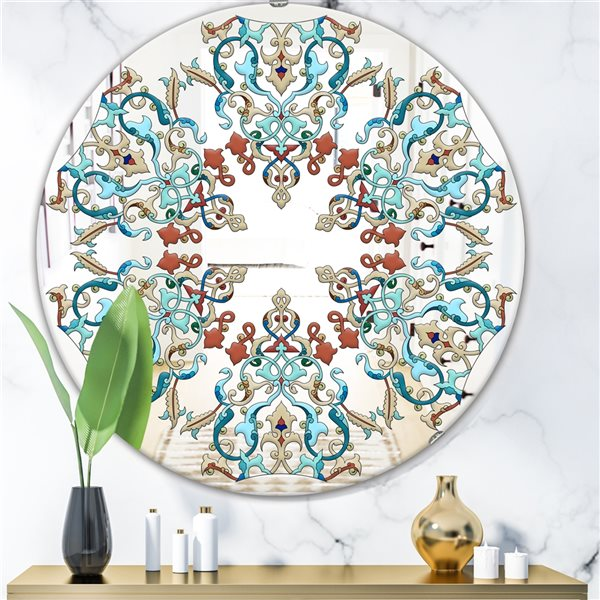 Designart Round 24-in L x24-in W Polished Mid-Century Blue/Red Wall Mounted Mirror