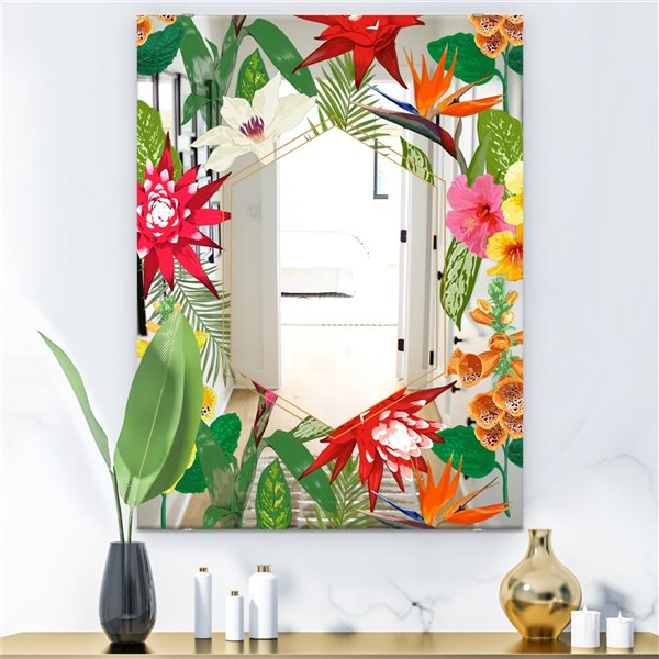 Designart Efflorescent Gold Abundance3 Rectangular35.4-in L x23.6-in W Polished Country Multicolour Wall Mounted Mirror