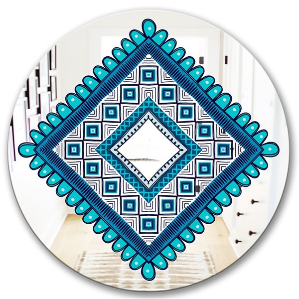 Designart Triangular Crenellated Round 24-in L x24-in W Polished Mid-Century Blue Wall Mounted Mirror
