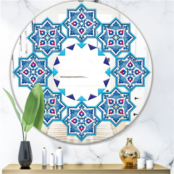 Designart Blue Stars in Stars Round 24-in L x24-in W Polished Mid-Century Wall Mounted Mirror