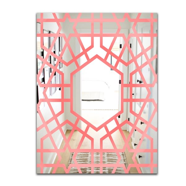 Designart Hexed Rectangular 35.4-in L x23.6-in W Polished Modern Pink Wall Mounted Mirror