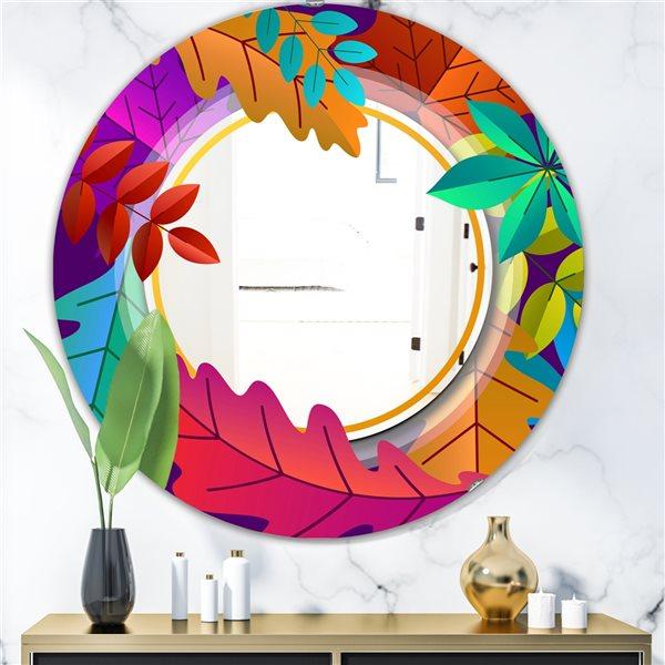 Designart Autumn with Round and Leaves Round 24-in L x24-in W Polished Farmhouse Multicolour Wall Mounted Mirror