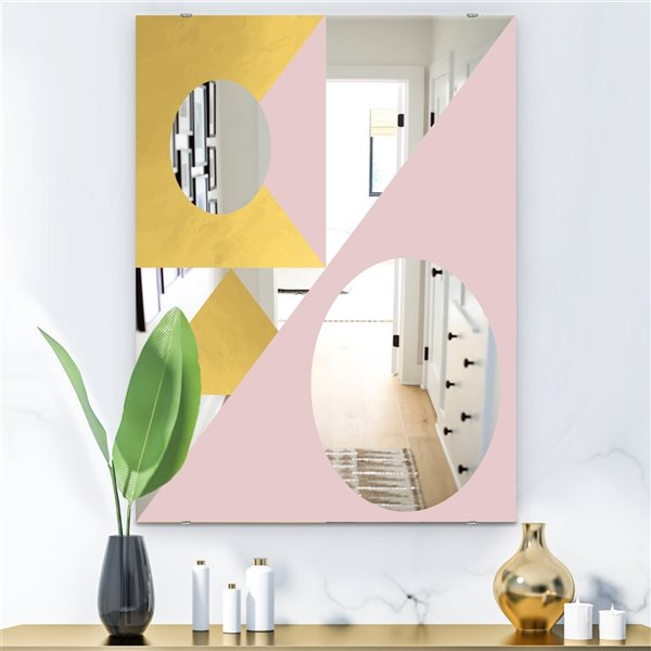 Designart Capital Gold Sleek 17 Rectangular35.4-in L x23.6-in W Polished Glam Pink Wall Mounted Mirror