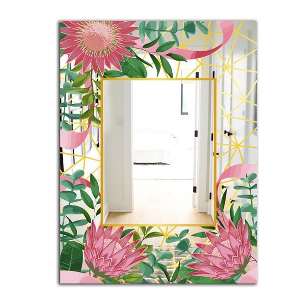 Designart Efflorescent Gold Pink 4 Rectangular35.4-in L x23.6-in W Polished Modern Wall Mounted Mirror