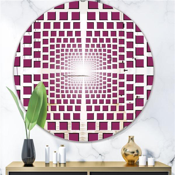 Designart Vortex Round 24-in L x24-in W Polished Modern Purple Wall Mounted Mirror