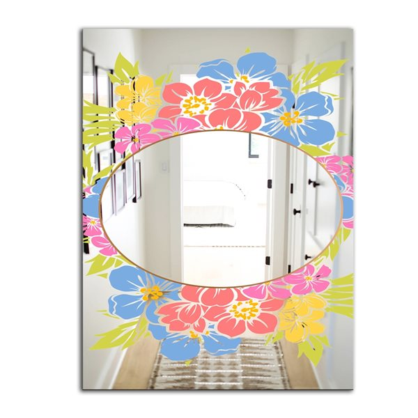 Designart Garland Sweet19 Rectangular35.4-in L x23.6-in W Polished Country Pink Wall Mounted Mirror