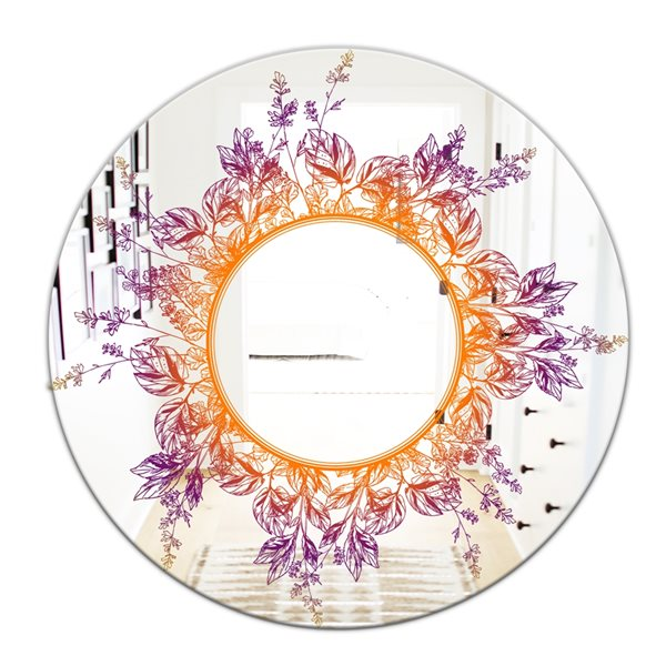 Designart Leaves Round 24-in L x24-in W Polished Farmhouse Purple/Orange Wall Mounted Mirror