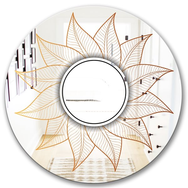 Designart Plant Flare with Mandala Round 24-in L x24-in W Polished Glam Gold Wall Mounted Mirror
