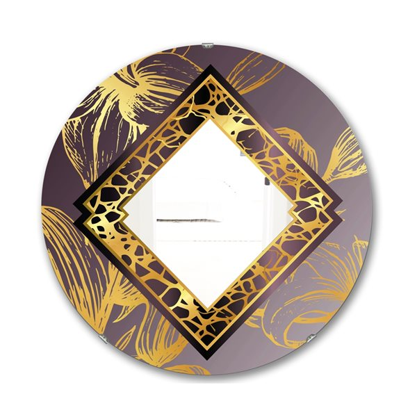Designart Marbled Marvellous 2 Round 24-in L x24-in W Polished Glam Gold Wall Mounted Mirror