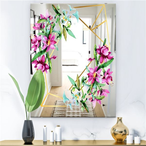 Designart Efflorescent Gold Abundance6 Rectangular35.4-in L x23.6-in W Polished Country Pink Wall Mounted Mirror