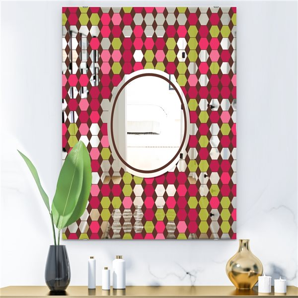 Designart Hexagons Rectangular 35.4-in L x23.6-in W Polished Mid-Century Pink/Green Wall Mounted Mirror