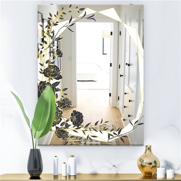 Designart Gold Botanical Obsidian1 Rectangular35.4-in L x23.6-in W Polished Country Black Wall Mounted Mirror