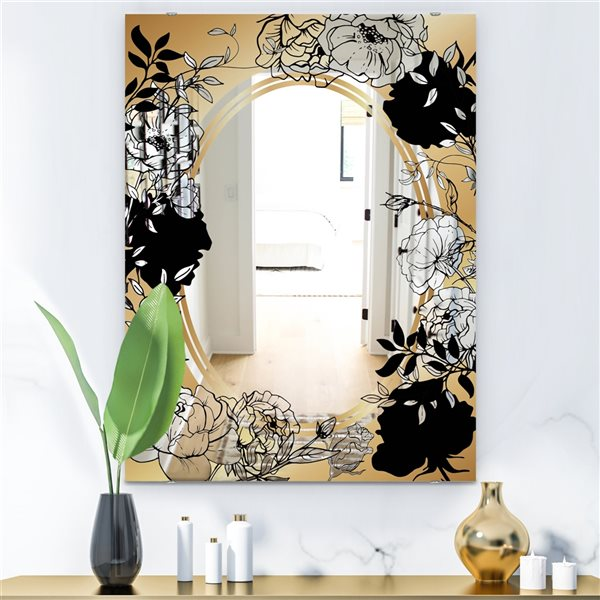 Designart Gold Botanical Obsidian5 Rectangular35.4-in L x23.6-in W Polished Glam Black Wall Mounted Mirror