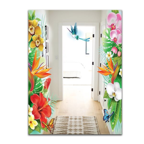 Designart Tropical Mood Bright 13 Rectangular35.4-in L x23.6-in W Polished Country Multicolour Wall Mounted Mirror