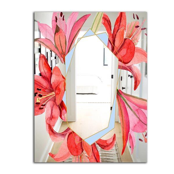 Designart Garland Sweet15 Rectangular35.4-in L x23.6-in W Polished Farmhouse Red Wall Mounted Mirror