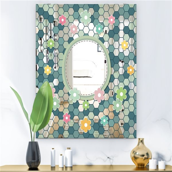 Designart Hexagons Rectangular 35.4-in L x23.6-in W Polished Mid-Century Blue Wall Mounted Mirror