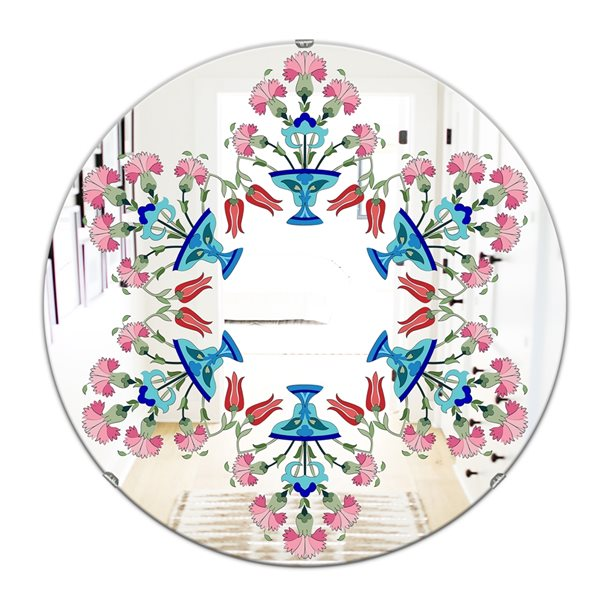 Designart Pick Me Up a Daisy Round 24-in L x24-in W Polished Eclectic Blue Wall Mounted Mirror