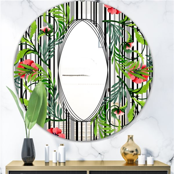 Designart Elementary Botanicals4 Round 24-in L x24-in W Polished Country Green Wall Mounted Mirror