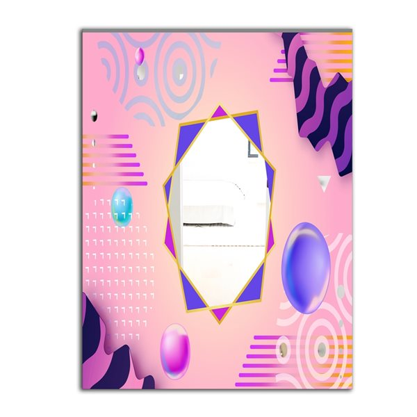 Designart Spacy Dimensions3 Rectangular 35.4-in L x23.6-in W Polished Modern Pink Wall Mounted Mirror