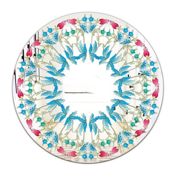 Designart Ottoman Blue Flower Wreath Round 24-in L x24-in W Polished Farmhouse Wall Mounted Mirror