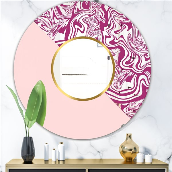 Designart Marbled Pink Marble1 Round 24-in L x24-in W Polished Mid-Century Wall Mounted Mirror