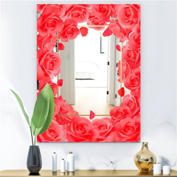 Designart Garland Vivid 6 Rectangular 35.4-in L x23.6-in W Polished Vintage Red Wall Mounted Mirror