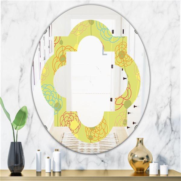 Designart Retro Handdrawn Flowers Oval 31.5-in L x23.7-in W Polished Modern Wall Mounted Yellow Mirror