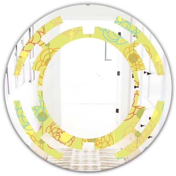 Designart Retro Handdrawn Flowers Round 24-in L x24-in W Polished Modern Yellow Wall Mounted Mirror
