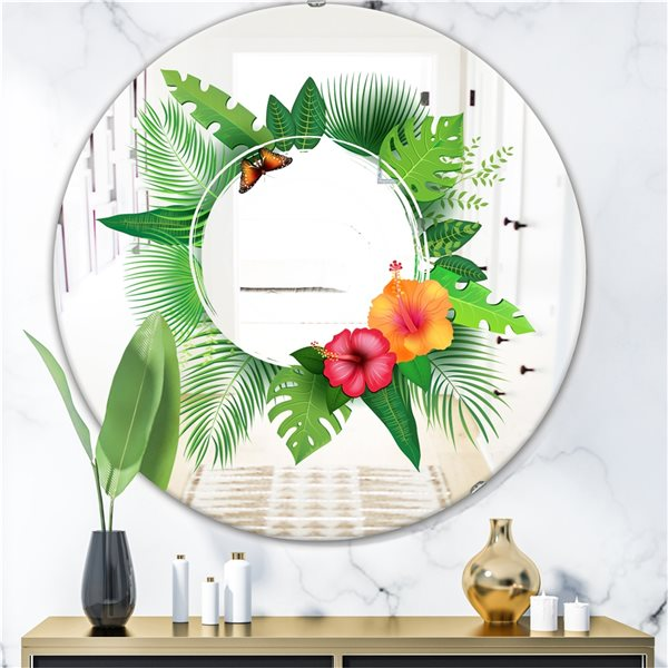 Designart Tropical Leaves Round 24-in L x24-in W Polished Farmhouse Green Wall Mounted Mirror