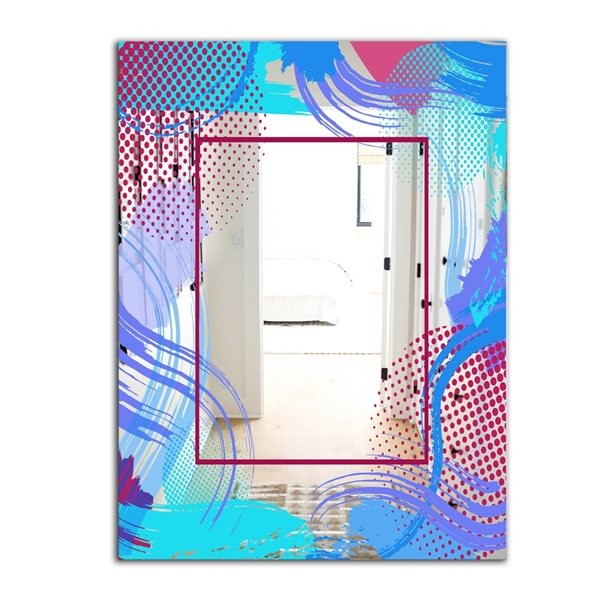 Designart Groovy Jungle13 Rectangular 35.4-in L x23.6-in W Polished Mid-Century Blue Wall Mounted Mirror