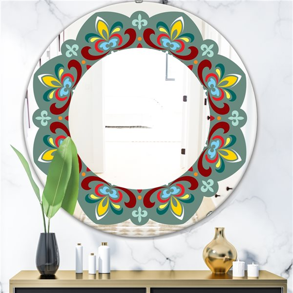 Designart Fleur de Lys Round 24-in L x24-in W Polished Mid-Century Green Wall Mounted Mirror