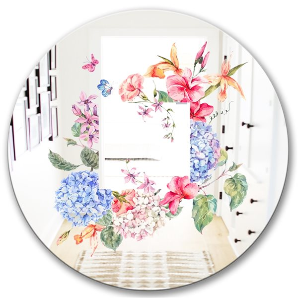 Designart Garland Sweet5 Round 24-in L x24-in W Polished Country Blue Wall Mounted Mirror