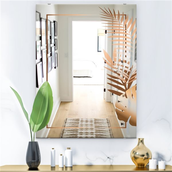 Designart Copper Minimal 6 Rectangular35.4-in L x23.6-in W Polished Glam Brown Wall Mounted Mirror