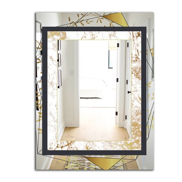 Designart Gold Botanical Blooming 5 Rectangular35.4-in L x23.6-in W Polished Glam Black Wall Mounted Mirror