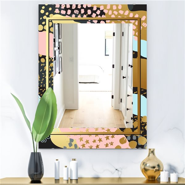 Designart Playful Gold4 Rectangular 35.4-in L x23.6-in W Polished Glam Wall Mounted Mirror