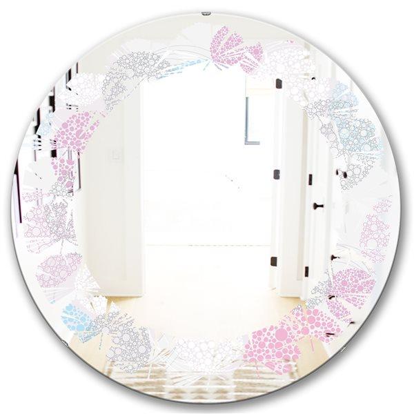 Designart Circular Abstract Retro Geometric III Round 24-in L x24-in W Polished Edge Modern Grey Wall Mounted Mirror