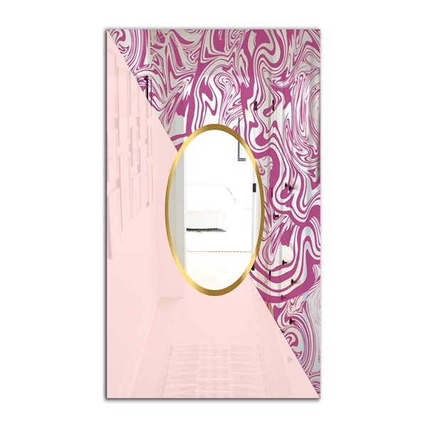 Designart Marbled Pink Marble1 Rectangular 35.4-in L x23.6-in W Polished Mid-Century Wall Mounted Mirror