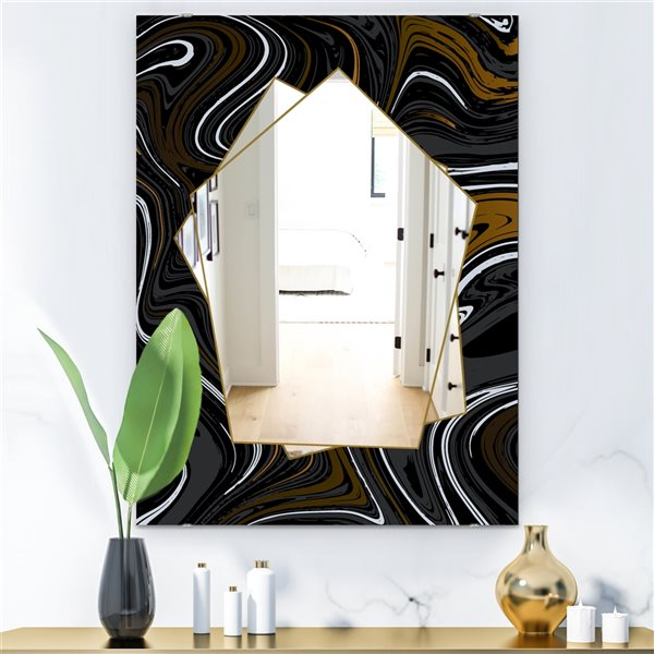 Designart Marbled Diamond9 Rectangular35.4-in L x23.6-in W Polished Farmhouse Black Wall Mounted Mirror