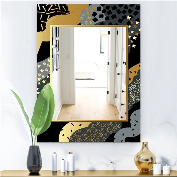 Designart Playful Gold1 Rectangular 35.4-in L x23.6-in W Polished Glam Wall Mounted Mirror