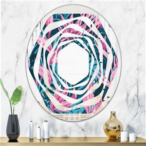 DesignArt 31.5-in x 23.7-in Handdrawn Tropical Flowers Oval Wall Mirror