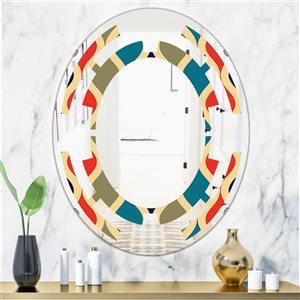 DesignArt 31.5-in x 23.7-in Retro Ornamental Design VI Modern Oval Wall Mirror