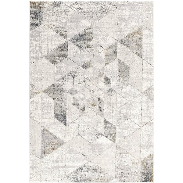Tapis Mirage gris avec des formes géométriques, 4 x 6, par Rug branch