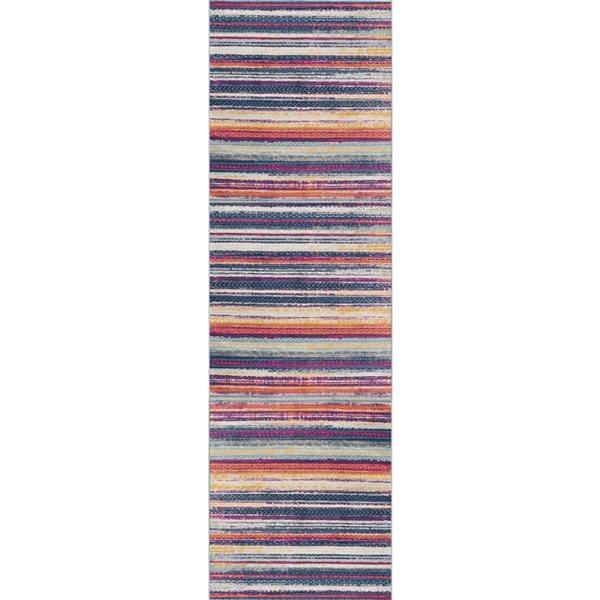 Tapis de passage Savannah ligné de 2 x 18 par Rug branch, multicolore