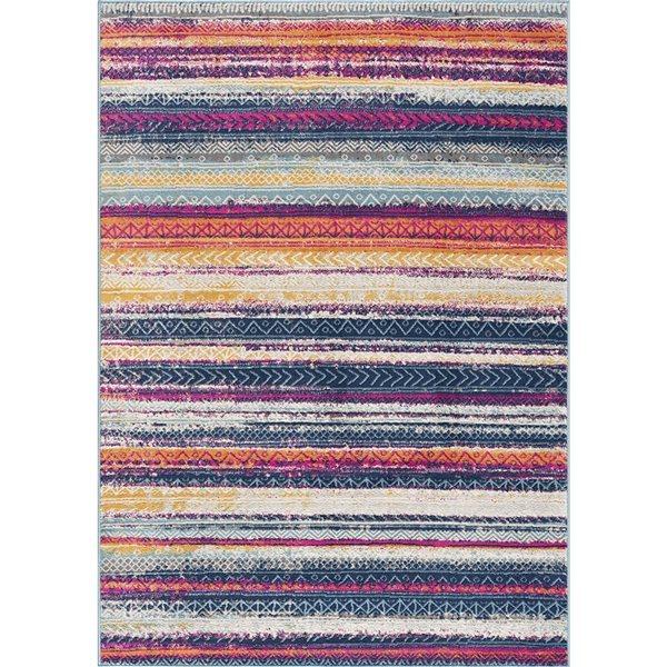Tapis Savannah multicolore ligné de 2 x 5 par Rug branch