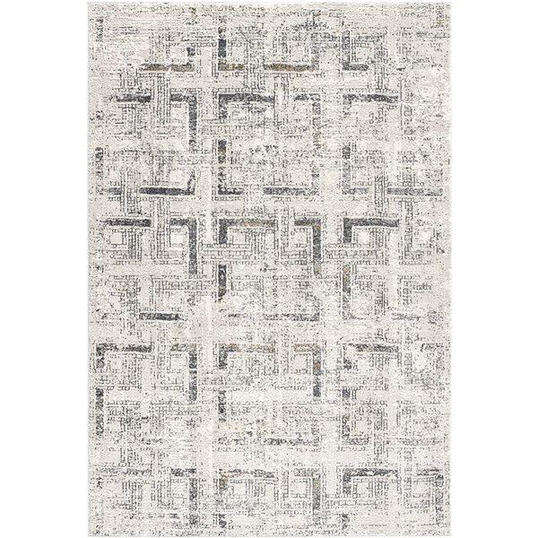 Tapis Mirage avec des formes géométriques de 7 x 10 par Rug branch, gris