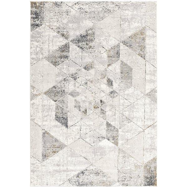 Tapis Mirage gris 8 x 11 avec des formes géométriques de Rug branch