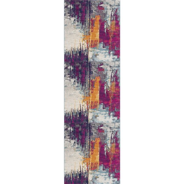 Tapis de passage Savannah multicolore abstrait moderne de 2 x 13 par Rug branch